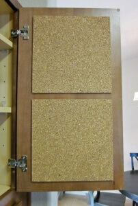 In Cabinet Cork Board